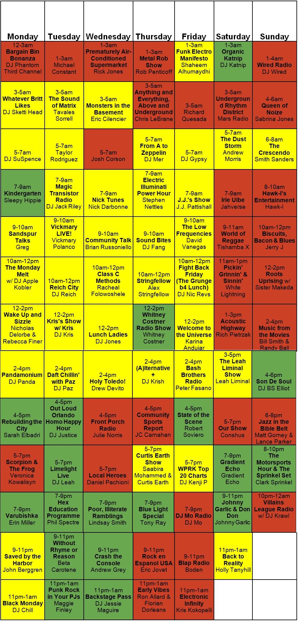 WPRK Schedule final